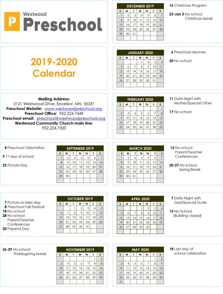 Westwood Preschool Calendar 2019-2020