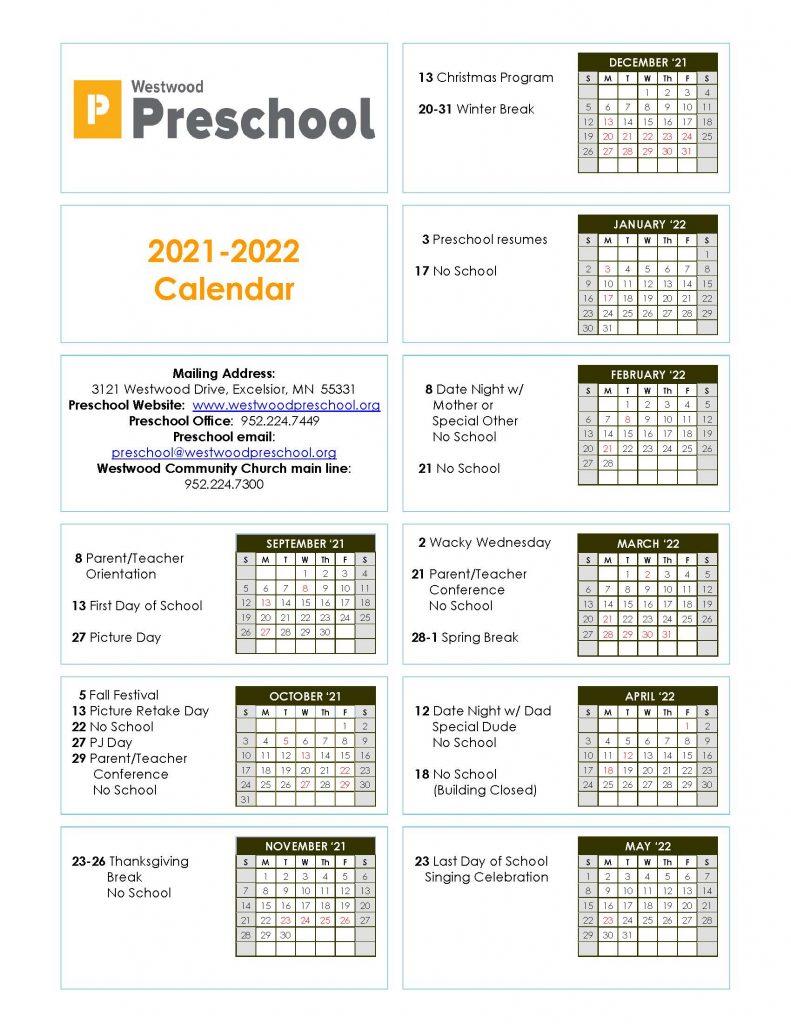 Westwood Preschool Calendar 2021-2022